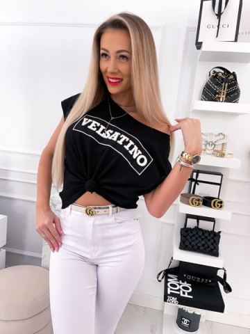 Czarna bluzka Velsatino Oversize