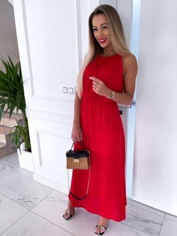 Długa czerwona sukienka z rozcięciem Etna