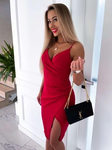 Sukienka czerwona Midi z rozcięciem
