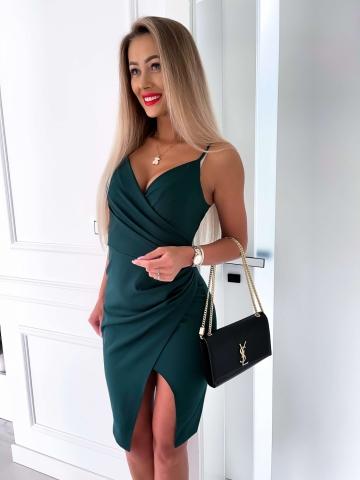 Sukienka butelkowa zieleń Midi z rozcięciem