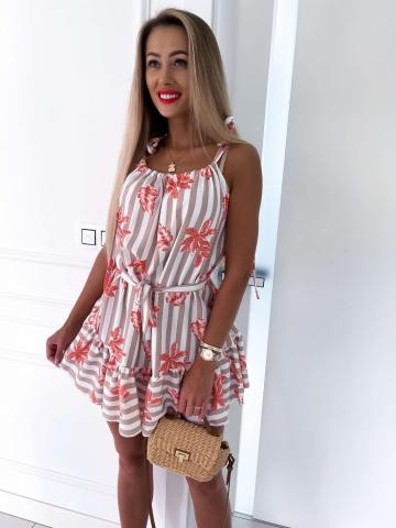 Sukienka w paski beżowo-biała Liście