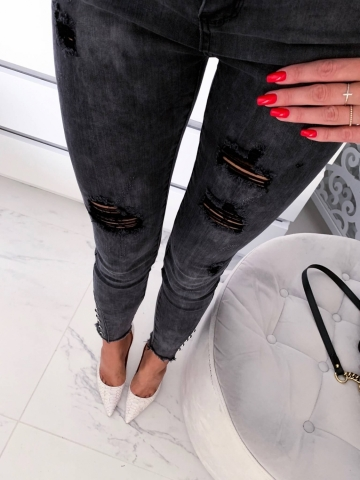 Spodnie grafitowe z dżetami na nogawce