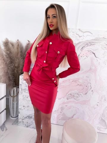 Czerwony komplet woskowany kurtka+spódnica
