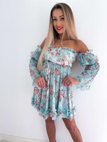 Miętowa sukienka hiszpanka w kwiaty La Diva