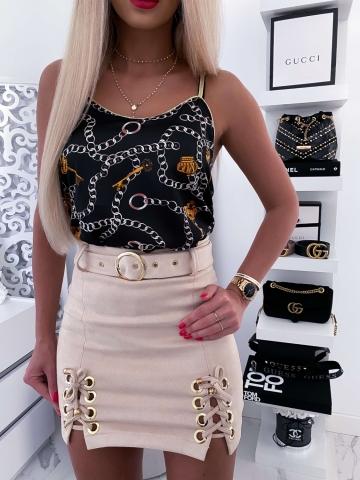 Czarna damska bluzka na ramiączkach łańcuchy
