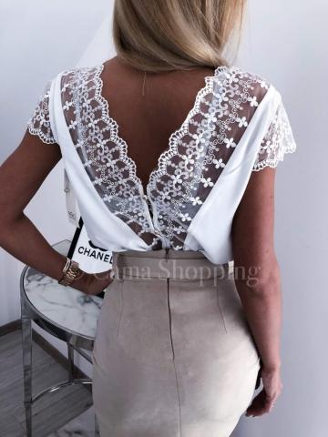 Biała Bluzka ozdobny tył