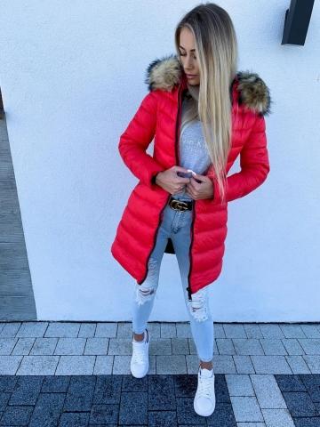 Płaszcz czerwony pikowany