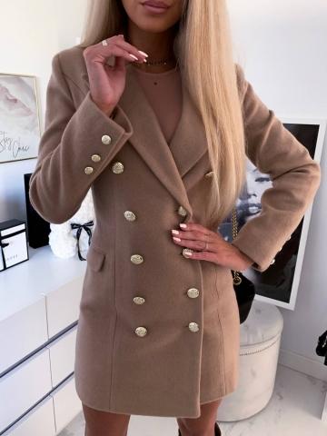 Zimowy beżowy płaszcz Edan