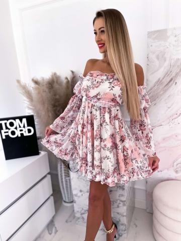 Brzoskwiniowa sukienka hiszpanka w kwiaty La Diva