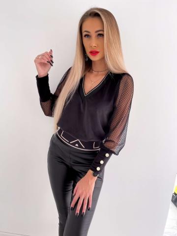 Czarna bluzka welurowa siateczkowe rękawy w kropki