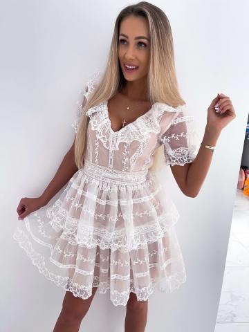 Beżowa Sukienka z koronką i białą siateczką Fiorella