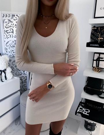 Beżowa sukienka ozdobny koronkowy tył