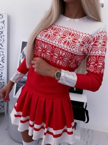 Sukienka czerwono biała Merry
