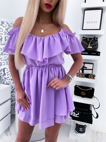 Sukienka Liliowa z falbankami