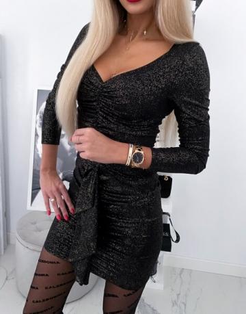 czarna Sukienka Złoty brokat