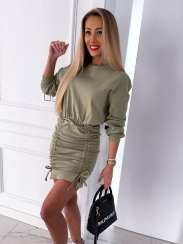 Dresowa Sukienka Khaki Oversize