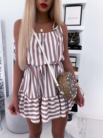 Sukienka w paski beżowo-biała Xana