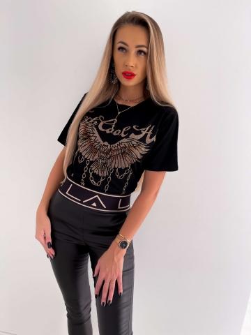 Czarny T-shirt z cekinowym orłem