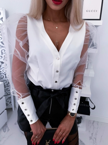 Biała bluzka Koko bufki
