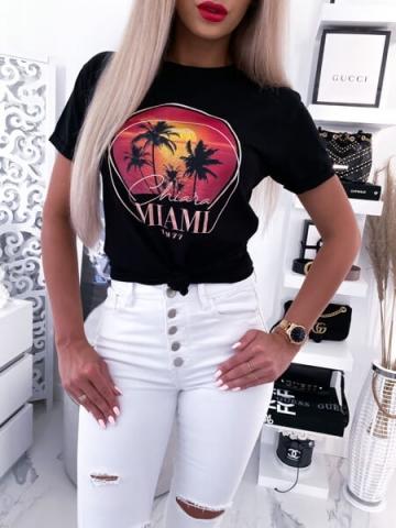 Czarny damski t-shirt z nadrukiem MIAMI