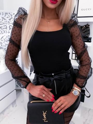 Czarna dopasowana bluzka bufki