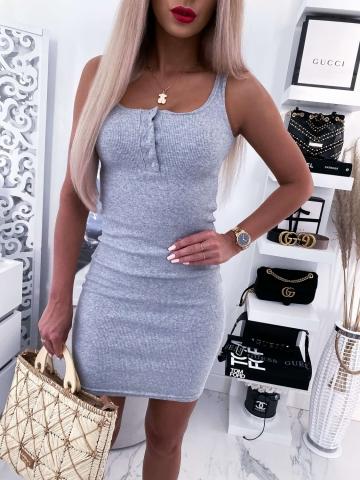 Szara sukienka dopasowana bez rękawów Label