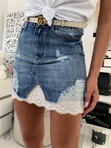 Spódniczka Jeans z koronkową wstawką