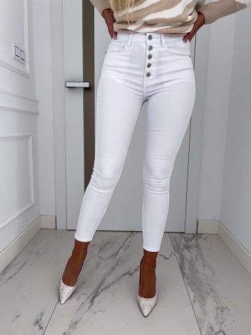 Białe spodnie dopasowane mega wysoki stan
