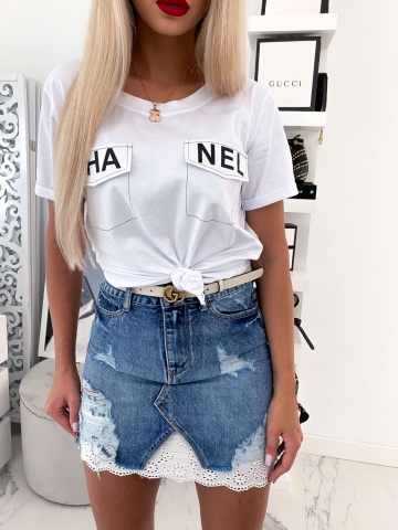 T-shirt biały CHA NEL