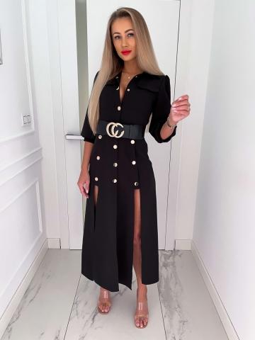 Czarna długa sukienka z rozcięciami Marina