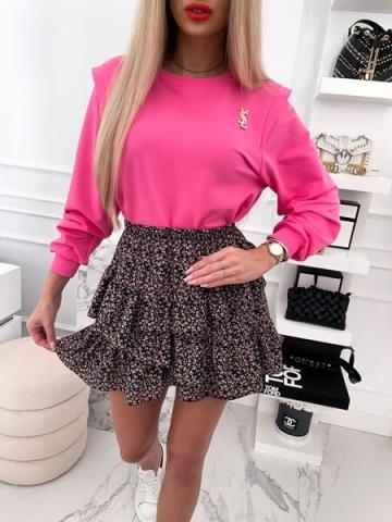 Różowa Bluza z broszką Oversize