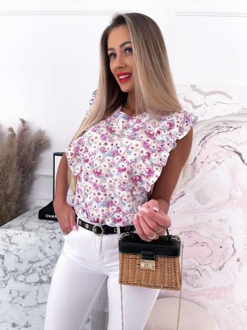 Damska bluzka z falbankami Flowers