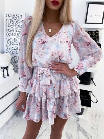 Sukienka biała w kwiaty Victoria