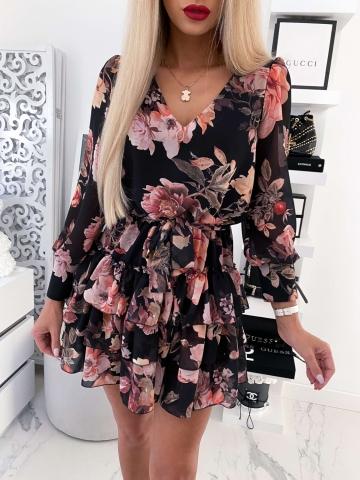 Sukienka czarna w kwiaty Victoria