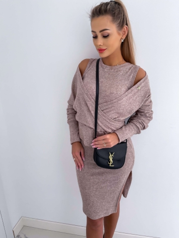 Beżowy komplet sukienka + sweterek
