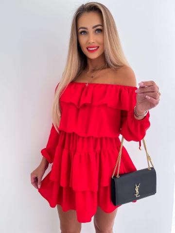Czerwona sukienka hiszpanka z długim rękawem Olivia
