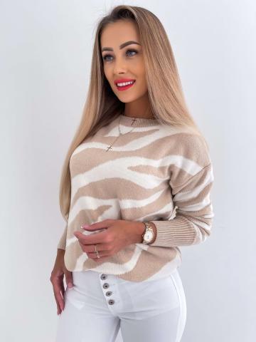Damski sweter beżowo-kremowy By me