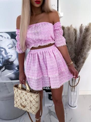 Różowy ażurowy komplet top i spódnica