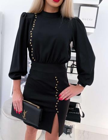 Czarna elegancka sukienka złote nity