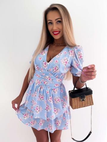 Sukienka błękitna w kwiaty La Perla