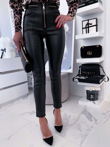 Spodnie czarne eko skóra Zip