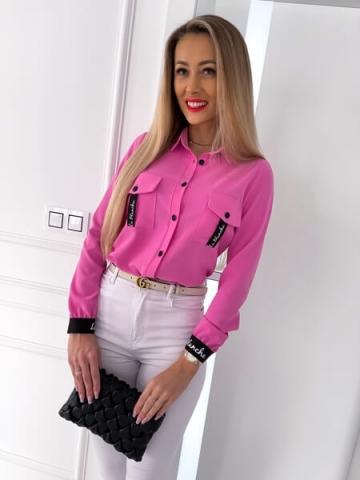Różowa koszula z kieszeniami La blanche