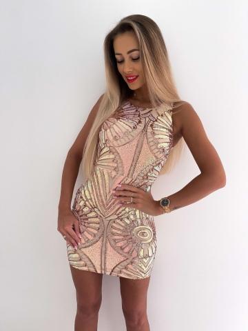Cekinowa sukienka mini bez rękawów Aperol