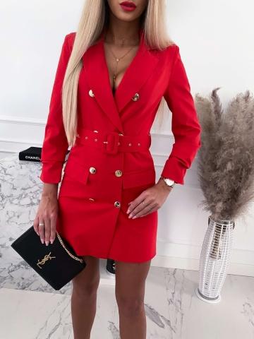 Czerwona sukienka marynarkowa Edan z paskiem