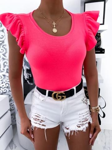 Neonowa Bluzka z falbanką na rękawie