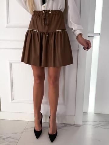 Spódnica rozkloszowana eko skóra Karmel