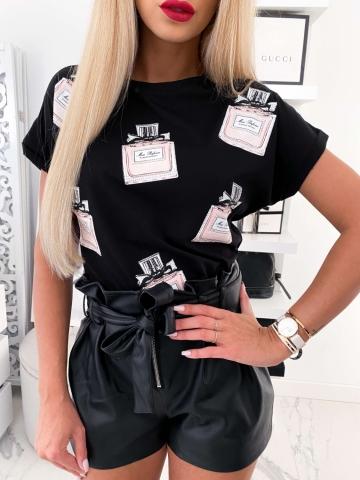Czarny T-shirt Miss Dior
