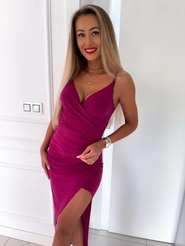 Purpurowa brokatowa sukienka na ramiączkach Maxi