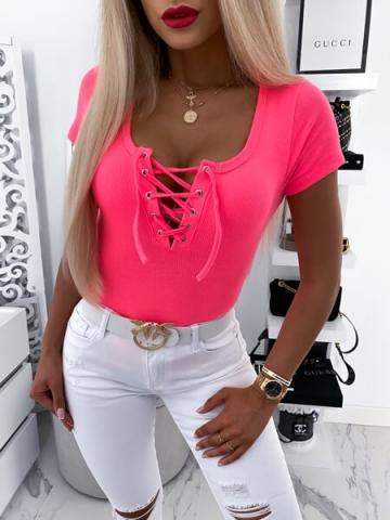 Neonowa bluzka wiązany dekolt