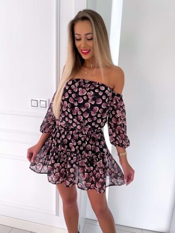 Czarna sukienka w róże Rozalia